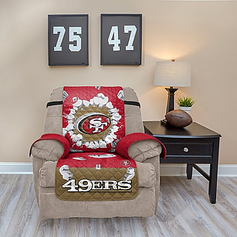 Nfl san francisco 49ers explosion recliner cover bed for 49ers bathroom decor