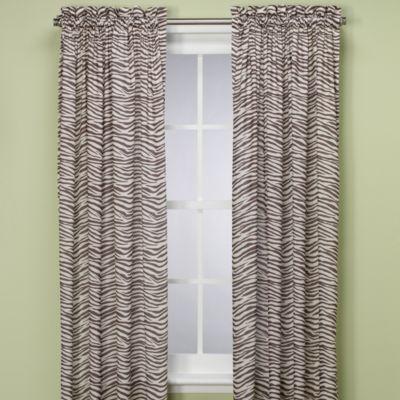 Zebra 84 Inch Window Curtain Panel In Chocolate Ivory