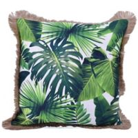 Rainforest Palm Leaf Square Throw Pillow in Green