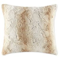 Madison Park Zuri Faux Fur Square Throw Pillow in Sand