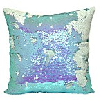 Sequin Mermaid Square Throw Pillow in Aqua
