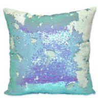 Sequin Mermaid Square Throw Pillow in Aqua
