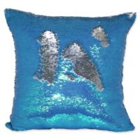Sequin Mermaid Square Throw Pillow in Teal