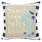 """Sandy Toes and Salty Kisses"" Square Throw Pillow in Navy"
