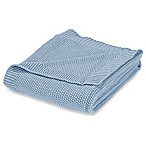 Corn Stitch Knit Throw Blanket in Blue