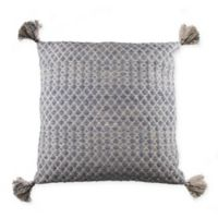 Textured Tassel Square Throw Pillow in Blue