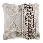 Diamond Stripe Nubby Square Throw Pillow in Grey/Ivory
