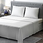Brielle 400-Thread-Count Sateen Queen Sheet Set in White Stripe