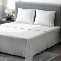 Brielle 400-Thread-Count Sateen Full Sheet Set in White Stripe