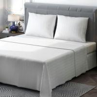 Brielle 400-Thread-Count Sateen Full Sheet Set in White Stripe