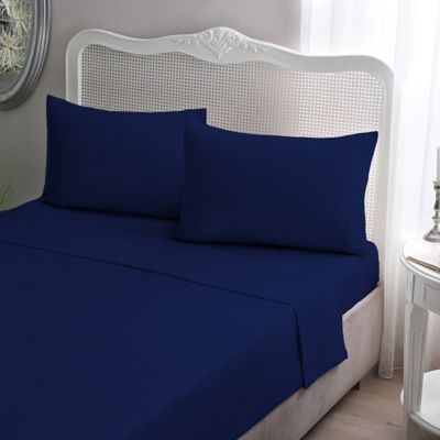 Brielle Jersey Knit Cotton California King Sheet Set In Navy