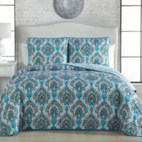 Avondale Manor Everly Reversible Queen Quilt Set in Teal