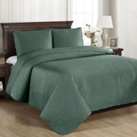 Brielle Basketweave Full/Queen Quilt Set in Sea Glass