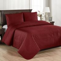 Brielle Basketweave Full/Queen Quilt Set in Red