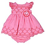 Nanette Baby® 2-Piece Size 6-9M Eyelet 3D Flower Dress and Diaper Cover Set in Pink