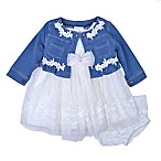 Nannette Baby® Size 6M 3-Piece Denim Cardigan, Lace Dress and Diaper Cover Set in White