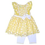 Nannette Baby® Size 0-3M 2-Piece Lace Daisy Dress and Legging Set in Yellow