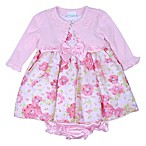 Nannette Baby® Size 3M 3-Piece Floral Cardigan, Dress and Diaper Cover Set in Pink