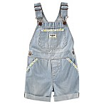 OshKosh B'gosh® Size 9M Stripe Denim Floral Trim Pocket Shortall
