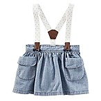 OshKosh B'gosh® Size 3-6M 3-Piece Polka Dot Suspender Denim Skortall and Diaper Cover Set