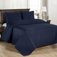 Brielle Basketweave Full/Queen Quilt Set in Navy