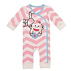 Baby Starters® Size 3M Chevron Sock Monkey Coverall in Pink/White