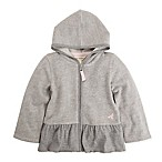 Burt's Bees Baby® Size 0-3M Organic Cotton Pique Ruffled Skirt Zip Hoodie in Grey