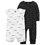 carter's® Size 3M 2-Pack Sweetheart Coveralls in Black/White