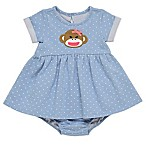Baby Starters® Size 3M 2-Piece Sock Monkey Denim Dress and Diaper Cover Set