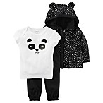 carter's® Size 3M 3-Piece Panda Hoodie, Shirt, and Pant Set in Black/White
