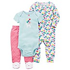carter's® Newborn 3-Piece Cat and Heart Bodysuit and Cat Faced Footed Pant Set in Pink
