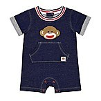 Baby Starters® Size 6M Sock Monkey Denim Shortall
