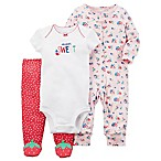 carter's® Size 3M 3-Piece  Super Sweet  Floral Bodysuit and Pant Set in Red