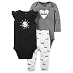 carter's® Size 9M 3-Piece Sun Cutie Bodysuit and Pant Set in Black