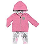Boppy® Size 6M 2-Piece Heart Hooded Cardigan and Legging Set in Pink