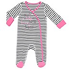 Boppy® Newborn  Smile Baby  Striped Snap-Front Footie in Black/Pink