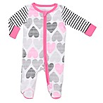 Boppy® Size 6M Sketch Heart Front-Zip Footie in Pink/Grey