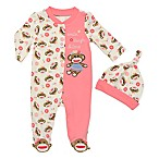 Baby Starters® Size 3M 2-Piece Sock Monkey Footie and Hat Set in Pink