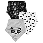 carter's® 3-Pack Panda Bandana Bibs in Black/White