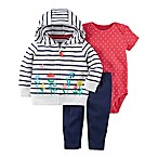 carter's® Size 6M 3-Piece Stripe and Flower Pocket Cardigan, Bodysuit, and Pant Set in Navy