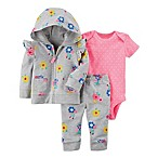 carter's® Size 3M 3-Piece Floral Hooded Jacket, Bodysuit, and Pant Set in Grey