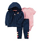 carter's® Size 3M 3-Piece Heart Print Hooded Jacket, Bodysuit, and Pant Set in Navy