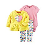 carter's® Size 3M 3-Piece Heart Print Cardigan, Bodysuit, and Pant Set in Yellow