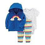 carter's® Size 6M 3-Piece Rainbow Hooded Jacket, Bodysuit, and Pant Set in Pink