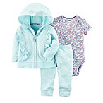 carter's® Size 3M 3-Piece Ruffle Dot Hooded Jacket, Floral Bodysuit, and Pant Set in Green