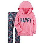 carter's® Size 3M 2-Piece Happy Hoodie and Leggings Set in Pink