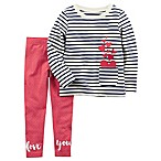 carter's® Size 3M 2-Piece Heart Pocket Striped Long Sleeve and Polka Dot Legging Set in Pink