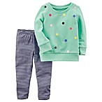 carter's® Size 3M 2-Piece Pom-Pom Sweatshirt and Striped Legging Set in Green