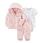 carter's® Size 3M 3-Piece Unicorn Hooded Jacket, Bodysuit, and Pant Set in Pink