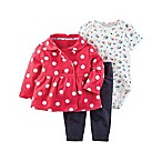 carter's® Size 3M 3-Piece Polka Dot Jacket, Floral Bodysuit, and Pant Set in Red